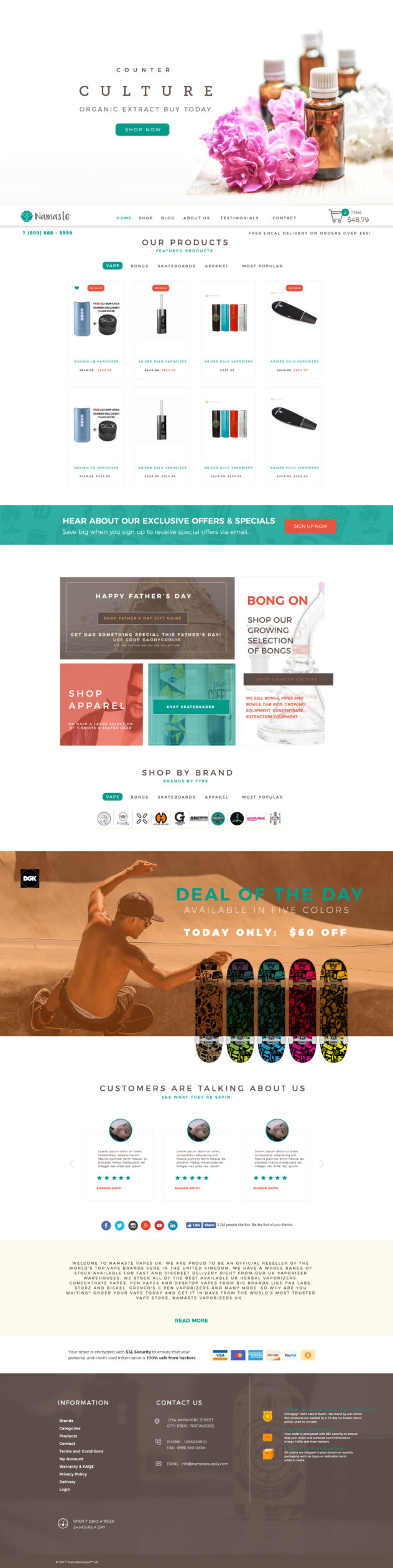 Custom website design for Namaste Cannibis supply ecommerce website.